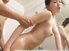 Asian fucked in the bathroom