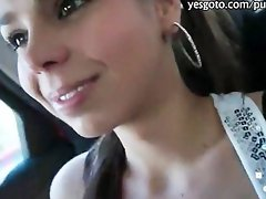 Cute amateur girl flashes her tits and banged for some money