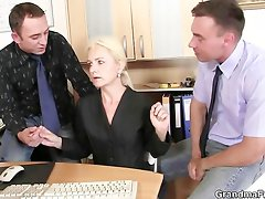 Two coowners bang hot mature lady