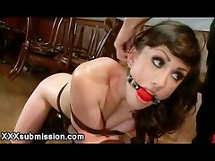 Bound babe throat fucked in bar out of working time