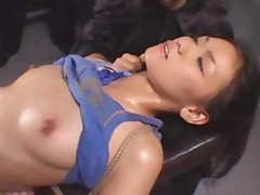 Cute Asian girl hooked up to electronics and gets fingered