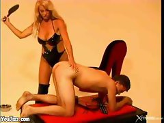 Blond Dominatrix Spanks And Tortures A Sex Slave