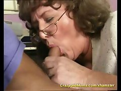 Warm sales lady with a like honey willy washer varnishes his cane