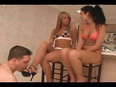 These two sorority girls share a slave and make him lick their feet