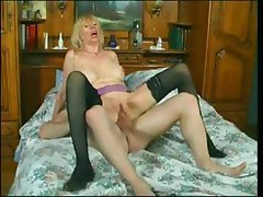 Nasty mature blonde bitch eats his tool and gets fucked in several poses