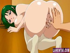 Busty young animated chick with green hair gets hammered from behind
