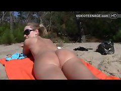 blonde teen nudist at beach