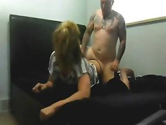 Blonde bitch Alexia St James eats his dick and gets hammered on the home cam