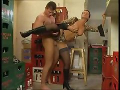 Brunette Susana De Garcia gets drilled by younger stud standing up