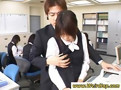 Flippant filly with an inadvisable sheath gets groped at the office