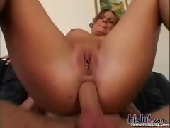Busty brunette Christy eats cock, fucks him and eats cock again