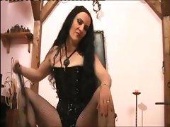 Coarse mistress cutie with a vulgar twat waxes her male slave