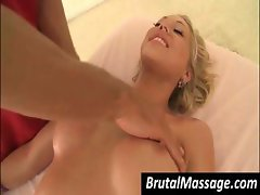 Busty blonde babe gets her nice rack massaged by two sets of hands