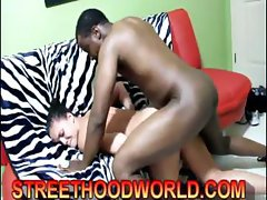 Hot young brunette Ashley gets slammed in many poses by his bog black boner