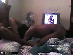 Ebony couple is getting jiggy and fucking watching it on webcam