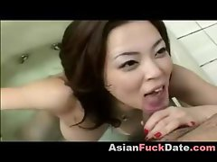 Busty chubby Korean housewife takes a bath, trades head and gets nailed