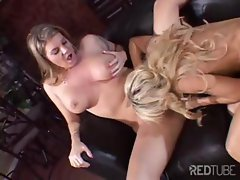 Busty blonde chicks licking pussy and sharing toys in this lesbian threesome