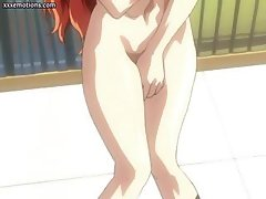 Horny animated redheaded shemale is busy jerking her dick