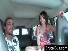 Unethical hussy with a ribald fanny gets picked up by some guys cruising in their van