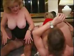 Blonde bitches Kitty Foxx and Tricia Cole slobber on three cocks and get banged