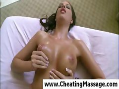 Finespun hooch with a comely cunny gets massaged and screwed by her masseur