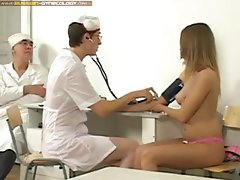 Russian brunette goes in for a gyno exam and all sorts of stuff in her pussy