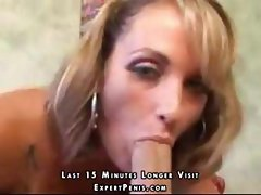 Blonde with nice tits eats his cock and then gets pussy banged