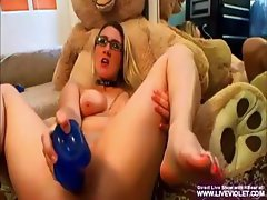 Busty college girl KBear plays with vacuum pump