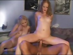 Two slutty young blonde bitches have a horny old pervs cock to satisfy