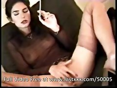 Classic brunette smoking and masturbation session