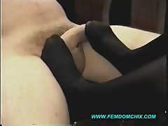 Teasing Cock With Her Black Stocking Feet