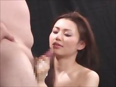 Young Oriental hottie Yui Matsuno has no problem stroking his dick to orgasm