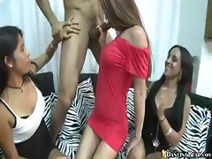 Masked stripper gets his love tool sucked and stroked by many horny gals