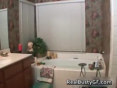 Chubby schoolgirl solo fun in bathtub