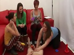 CFNM babes play kinky games with a gimp