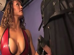 Restrained sub gets cock electro shocked