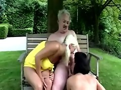 Young babes suck old guy then fuck the senior citizen