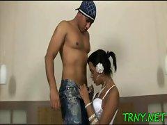 Horny tranny mounts a dick
