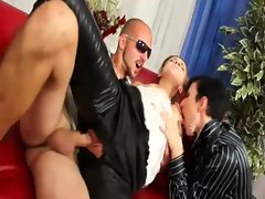 Clothed classy glamour trio fuck and cumshot