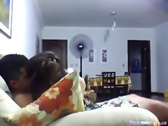 Cute Latina Rides Her BF On The Sofa