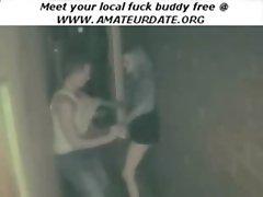 Amateur teens fucking in public outside voyeur homemade