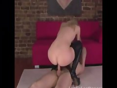 Blonde femdom gets sucked and fucked by her subject