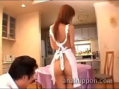 Tied Japanese sex slave on her all fours takes anal training