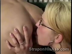 Strapon blondie goes naughty fucking college mate up his ass at tennis court