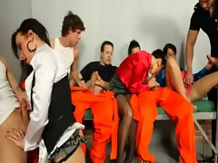 Horny bisexual prisoners and sluts blowjob orgy