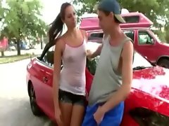 Her older boyfriend polishes her car so brunette skank polishes his cock