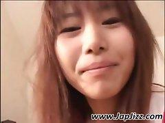 Cute little Asian girl is sleeping in her underwear and woken up