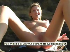 Carli superb naked blonde girl on the beach