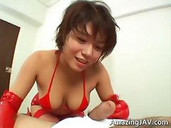 Super hot asian babe jerking some cock part5