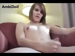 Shemale strips down and puts on a show jerking off his cock